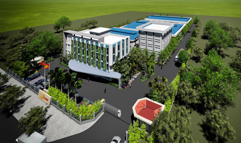 Phối cảnh nhà máy dược phẩm tại khu công nghệ cao Hòa Lạc.