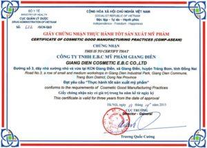 Giấy chứng nhận thực hành tốt sản xuất mỹ phẩm Giang Điền