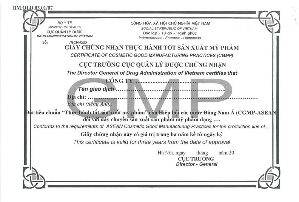 giấy chứng nhận đạt cGMP