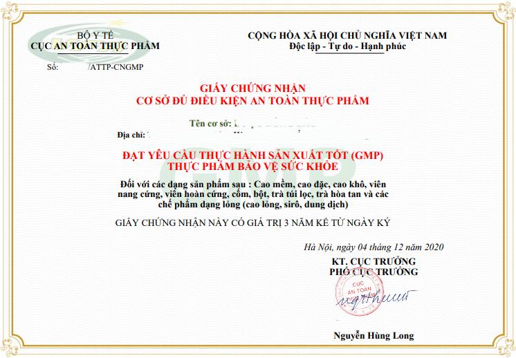 giấy phép đạt chuẩn GMP